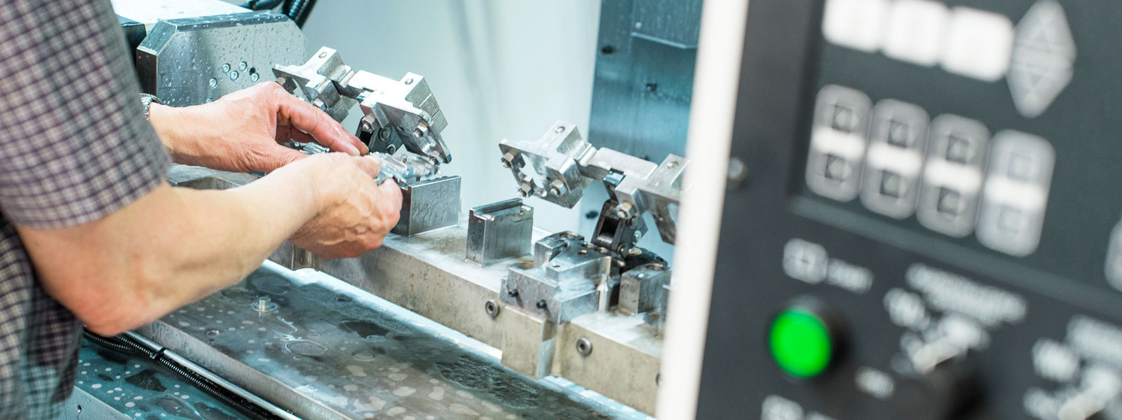 Component being machined in a CNC machining centre